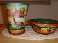Two hand painted pottery pieces, bowl and glass set.