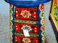 This beautiful hand painted stool with 3 drawers and