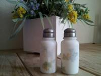 This lovely pair of Victorian hand-painted, milk glass