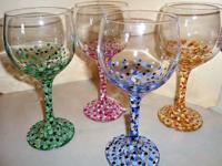 "Hand painted wine glasses. ""Confetti"". Hand wash only."