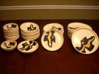 Set of Handthrown pottery dinner ware made by a potter