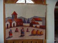 #1 $25.00 Hand loomed woven art work wall hanging. In