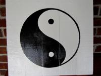 Hand Painted Yin-Yang, made out of wood. Size: 15L X