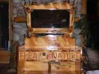 RUSTIC PINE CHEST WITH LARGE ANTLERED MIRROR PERFECT