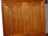 Stunning solid oak home entertainment center-- center