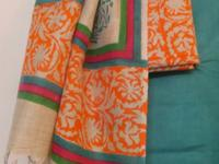 HANDLOOM COTTON SUIT WITH BLOCK PRINT GREEN-ORANGE