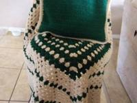 Handmade, Crochet Single Granny Square Hunter Green &