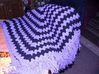 Beautiful lavender and black home made afghan with