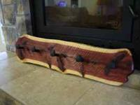 Handmade red cedar rough sawn coat rack with railroad
