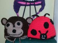 Handmade crocheted pet hats. Newborn to kid $18.00. Big