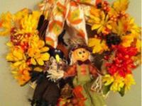 handmade fall wreaths. initially three (with scarecrow