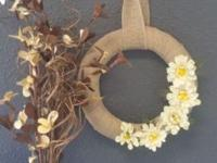 This cute everyday wreath measures 10x10x1 inches. It