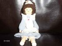 Cute handmade nurse doll.. Wooden head...hands and