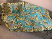 Handmade Quilt Green with sunflowers. Breast Cancer