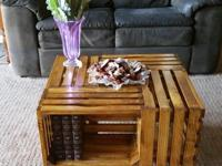 Hand-made small coffee table with shelves for