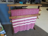 Well made stained Pine Quilt Rack with 3 slatsMeasures