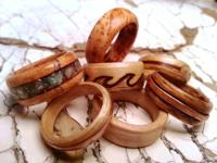 Handmade wood rings made by my partner. Prices range