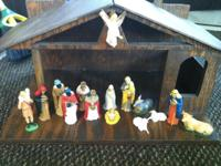 Handmade wood lighted nativity manger with 14 nativity