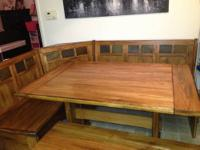 $425 or best offer It's a hard wood sectional table