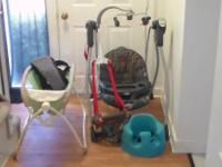 I have a baby carrier, a bassinet, a blue bumbo chair,