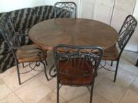 Hardwood Kitchen table with 6 matching metal