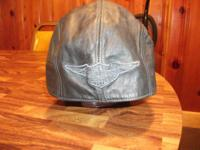 Harley Davidson Black leather cap laces down the back