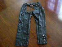woman real lined harley chaps, size med., leg zippers,