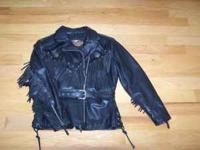 Ladies leather Harley Davidson jacket with fringe size