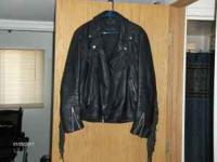 Men's Harley Davidson leather jacket with fringe. There