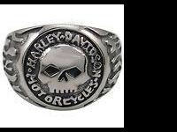 Brand new Harley Davidson skull ring with flames,