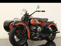 Awesome 1947 Harley WL with side car!! Here is a great