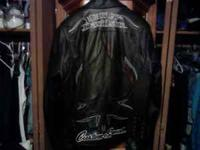 Mens large leather coat harley davidson taken care of