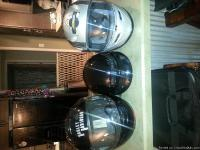 3 helmets, 2 full face and one half helmet. One pair of