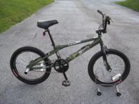 Haro F4 bike, army green with minor chips/scratches,