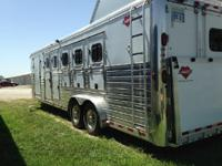 5 horse aluminum trailer. Plenty of storage in the