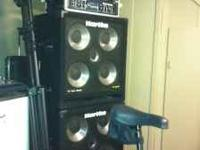 A hartke 350 + 350 or bridge at 700 watts with two 4.5