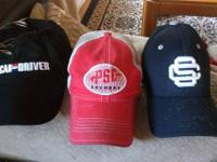 Three baseball hats: Car and Driver, PSE Archery, and
