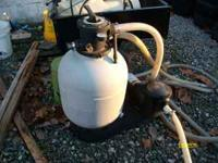 this is a used pump with filter and some hose. the