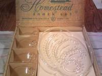 Beautiful Vintage Hazel Atlas clear Glass Snack set