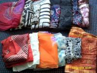 40 head scarves- mix of square and rectangular styles-