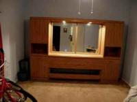Headboard Wall Unit, lighted with drawers and doors