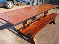Handmade Tables and benches. Rustic pioneer style