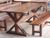 Rustic tables, chairs, benches, and coffee tables.
