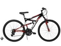The Huffy Rock Creek dual suspension bike features a
