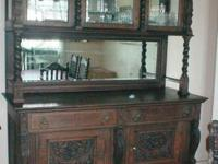Heavily carved Oak Buffet and Hutch, made in France
