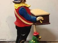 Heavy Cast Iron DoorStop Double Sided Organ Grinder and