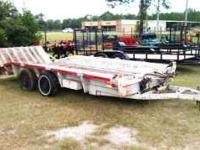 Heavy Duty Equipment hauler trailer, long slant fold