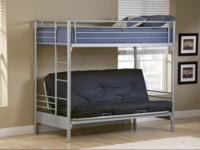 Universal Full/Full Futon Bunk Bed in Silver-Heavy Duty