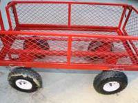 Heavy Duty Steel Red Garden Wagon with detachable side