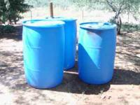 blue heavy duty plastic barrels used around the